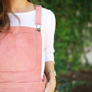 clad & cloth Dresses - HP✨Pink Corduroy Overall Jumper Dress